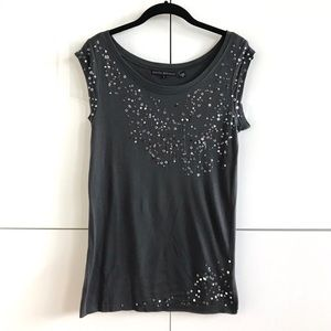 Kate Moss x Topshop Grey Capped Sleeve Sequin Tee